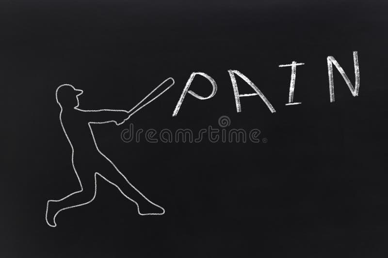 Basebollspelaren som slår ett ord, smärtar arkivbilder