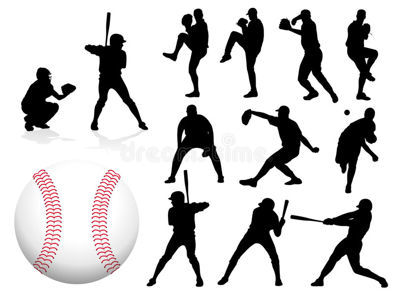 basebollspelarevektor royaltyfri illustrationer