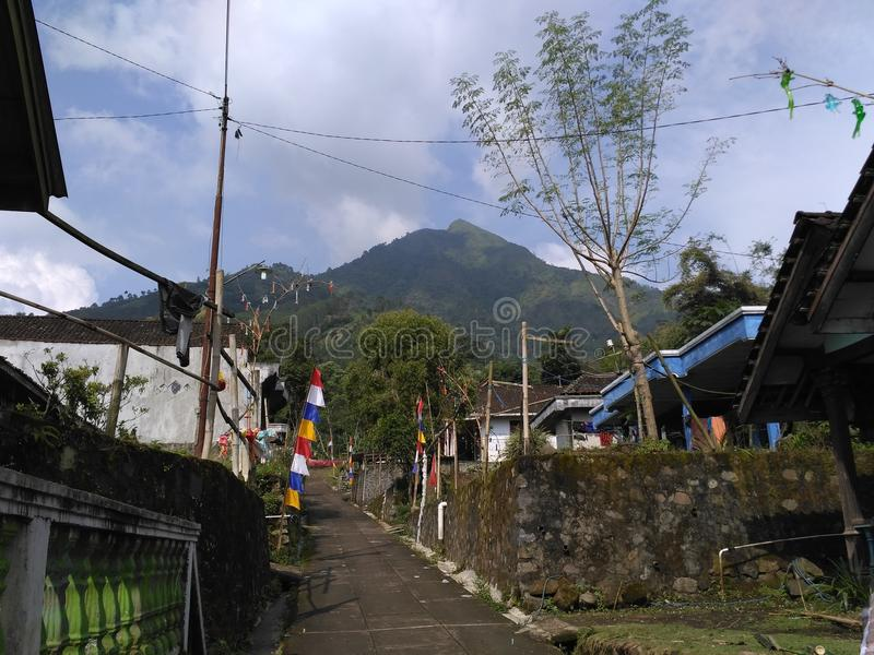 Basecamp Andong Peak. Andong Mountain is in Magelang, Central Java. A mount with peak 1728 Meter high over the sea stock image