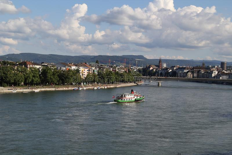 Basel city and Rhein river royalty free stock images