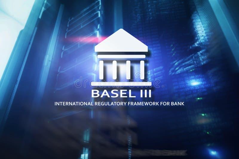 Basel 3 Internationell reglerande ram för banker på abstrakt serverrumbakgrund arkivfoto