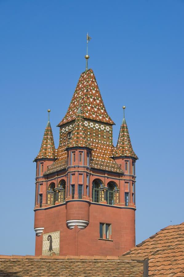 Basel-Rathauskontrollturm stockfotografie