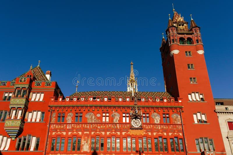 Basel Szwajcaria, Rathaus urząd miasta w Marktplatz, - fotografia royalty free