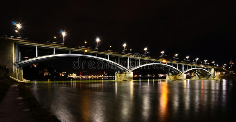 Download Basel - Wettsteinbrücke Bei Nacht, Rhein, Fluss Stock Image - Image of bridge, shot: 39512233