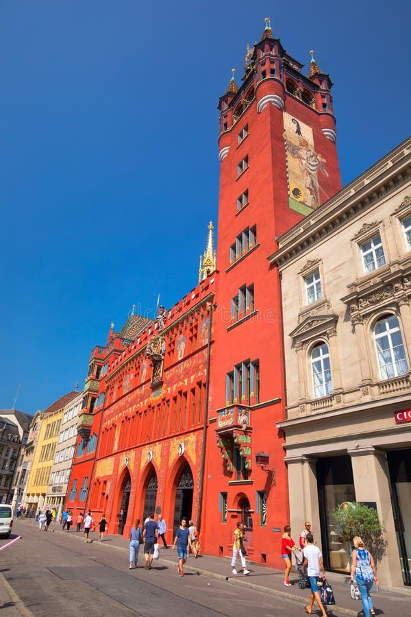 BaselRathaus Basel ist eine Stadt in der nordwestlichen Schweiz auf dem Fluss Rhein und dritt-höchst-einwohnerstarker Stadt lizenzfreie stockfotos