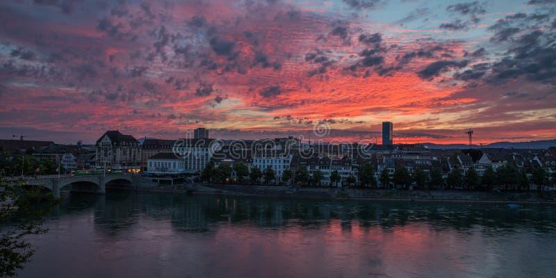 Baselsoluppgång i Schweiz fotografering för bildbyråer