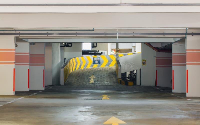 Basement car park exit and entrance view. Basement car park exit view royalty free stock images