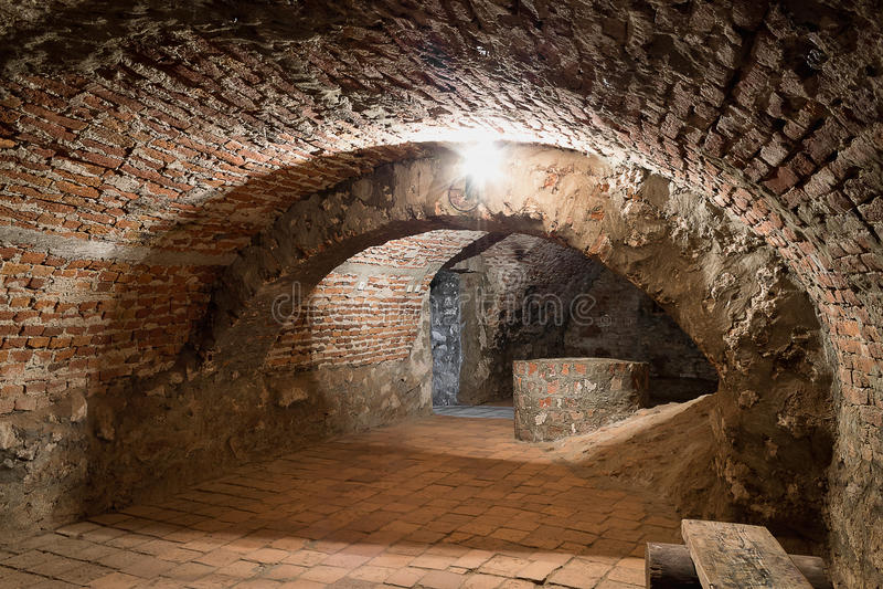 Basement in the castle Palanok stock photography