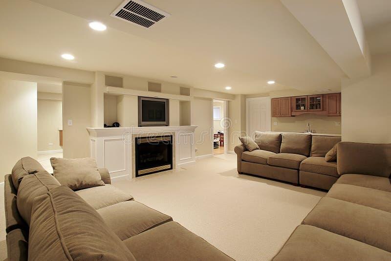 Basement in luxury home stock image