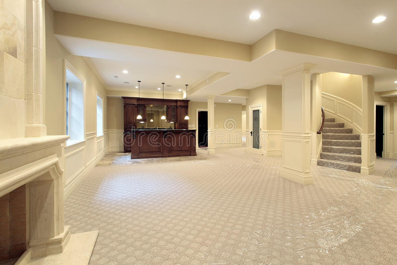 Basement in new construction home stock images