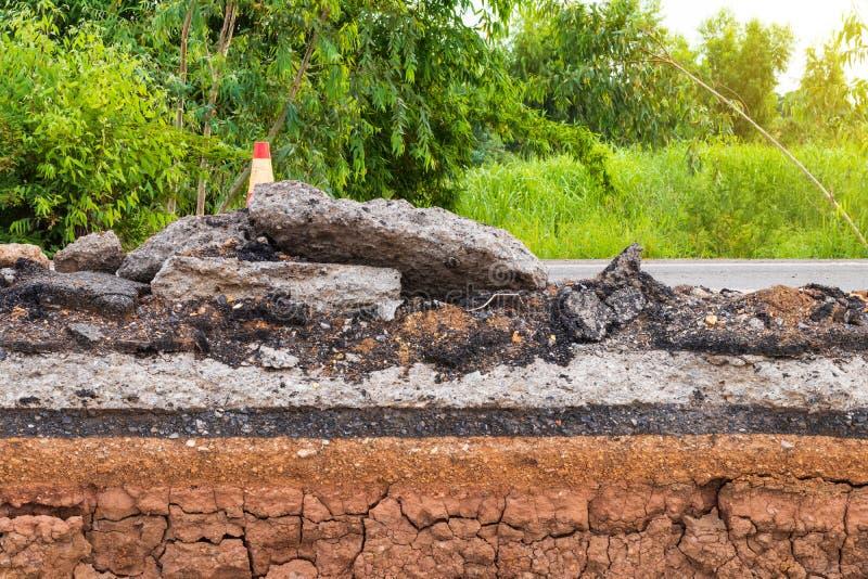 Basement, paved asphalt road is dug royalty free stock photography