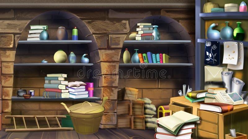 Basement shelves. Image 1 stock illustration