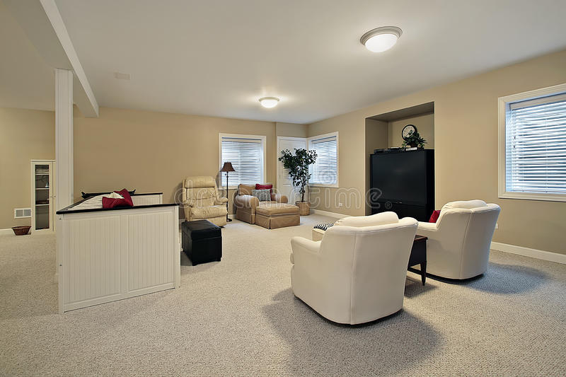 Basement with tan walls royalty free stock photography