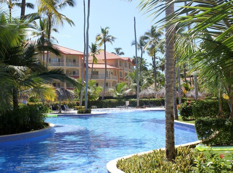 basenów kurortu dopłynięcie tropikalny obraz royalty free