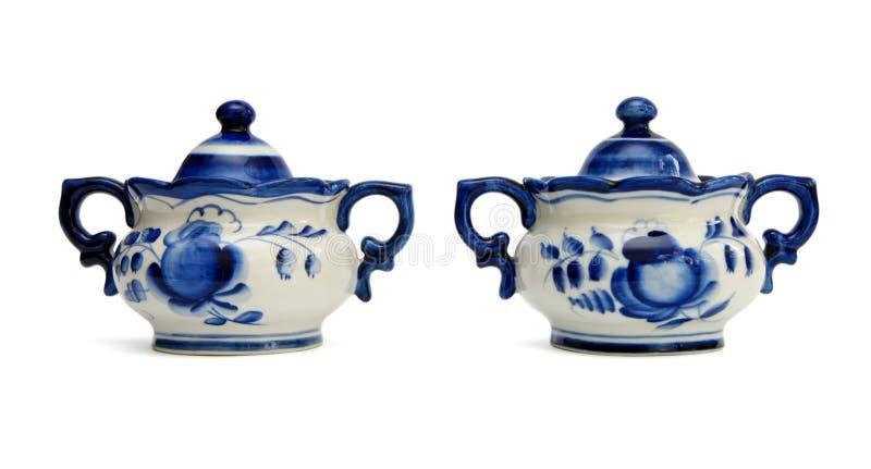 basenów porcelany rosjanina cukier dwa zdjęcie royalty free