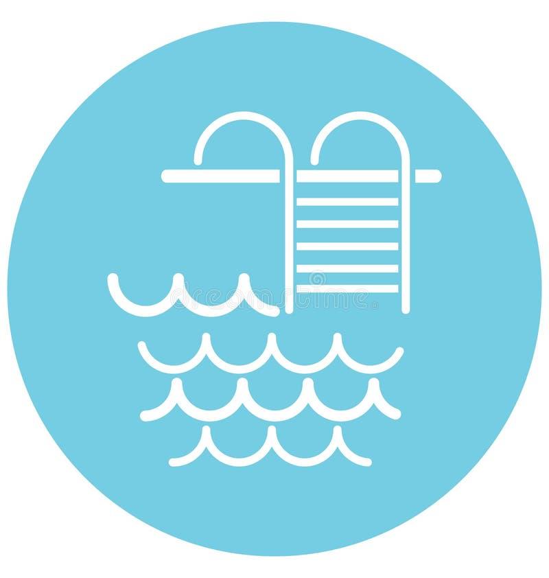 Basen drabiny Odizolowywają Wektorową ikonę Editable royalty ilustracja