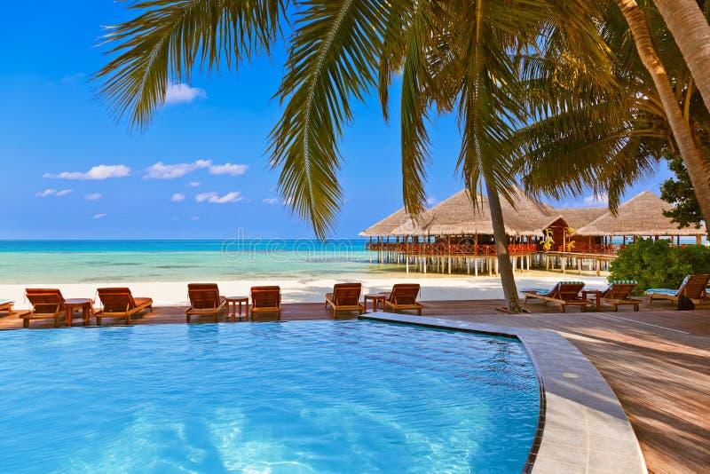 Basen i kawiarnia na Maldives plaży zdjęcie stock