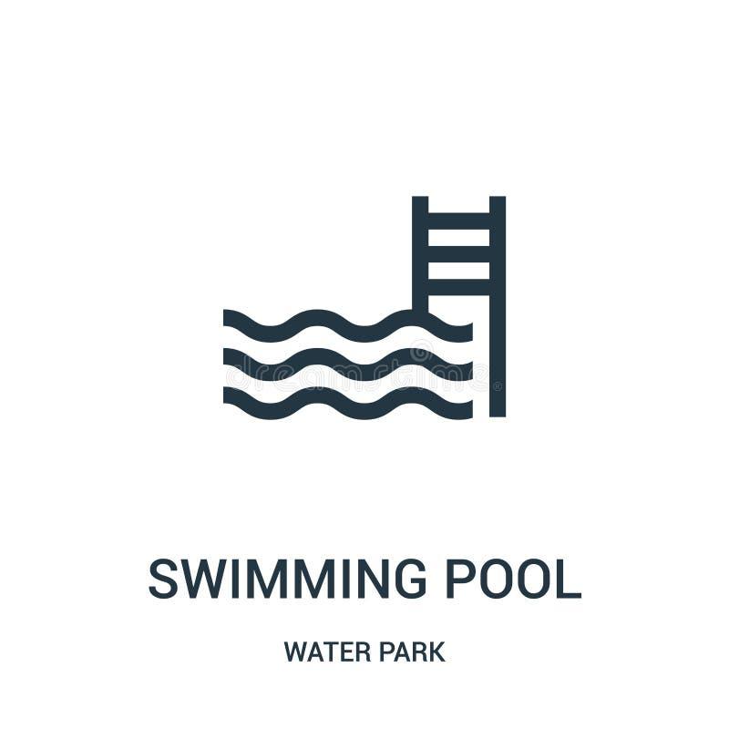 basen ikony wektor od woda parka kolekcji Cienka kreskowa basenu konturu ikony wektoru ilustracja Liniowy symbol dla royalty ilustracja
