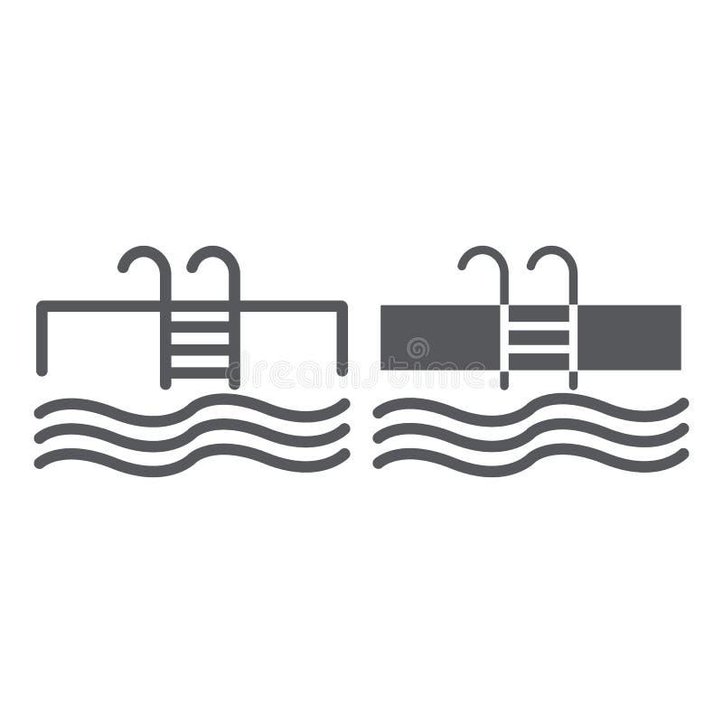 Basen linia, glif ikona, sport i pływanie, woda znak, wektorowe grafika, liniowy wzór na białym tle ilustracja wektor