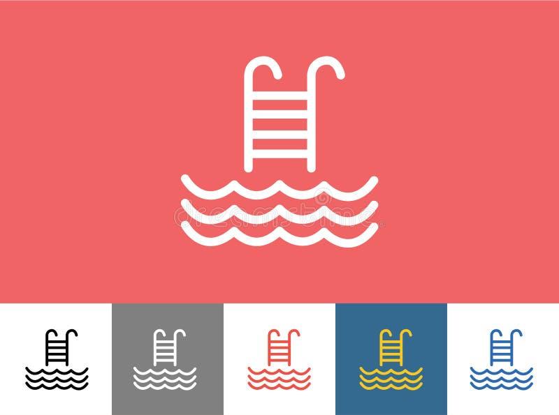 Basen wektorowa ikona odizolowywająca Fala, lato lub schodki, ilustracji