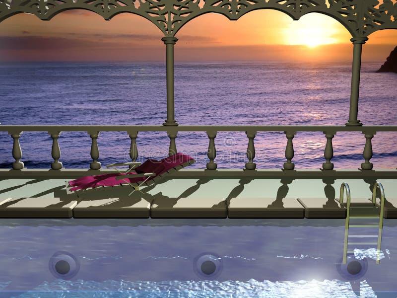 basenu dopłynięcie royalty ilustracja