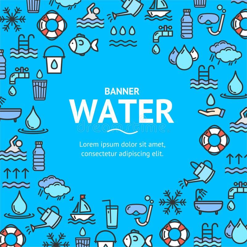 Basenu i wody znaków projekta szablonu linii ikony Round pojęcie wektor ilustracja wektor