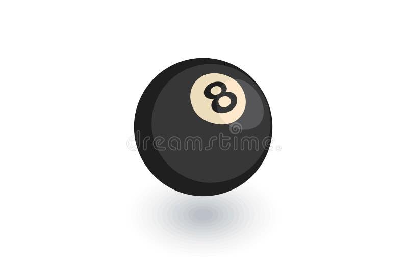 Basenu 8 piłka, Bilardowego symbolu isometric płaska ikona 3d wektor ilustracja wektor