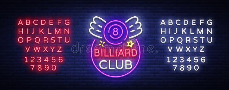 Basenu prętowy logo w neonowym stylu Neonowego znaka projekta szablon dla Bilardowego baru, klubu, piwnego i bilardowego lekkiego royalty ilustracja