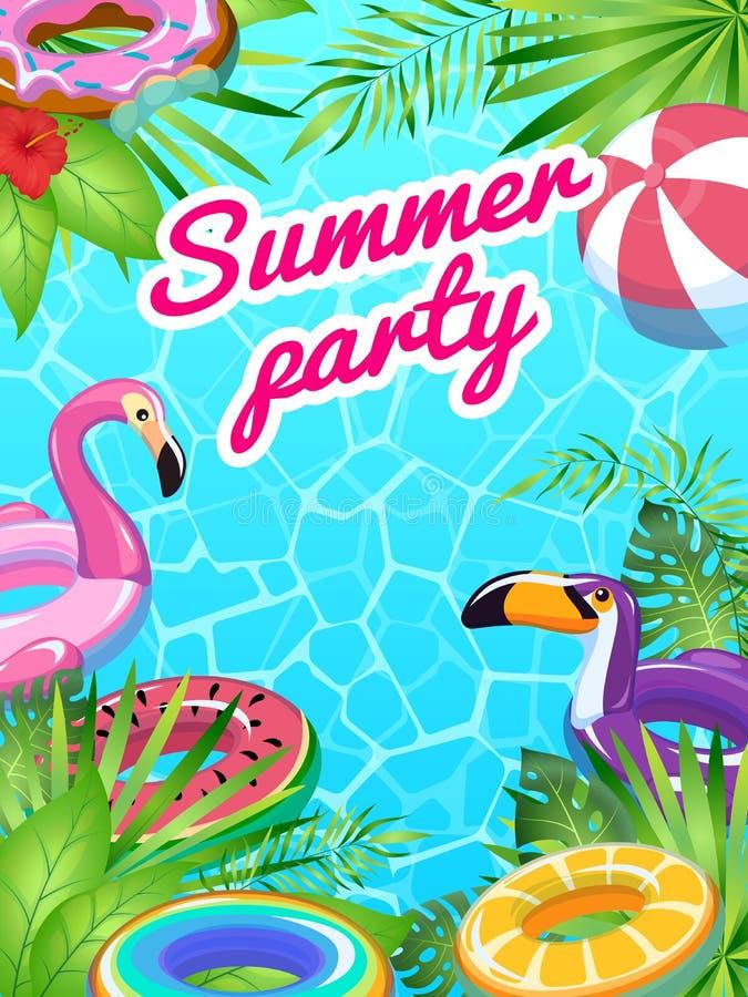 Basenu przyjęcia karta Pływa lato zabawek nadmuchiwanej plakatowej zabawy ulotki ratownika wyposażenia tropikalnych plażowych dzi ilustracja wektor
