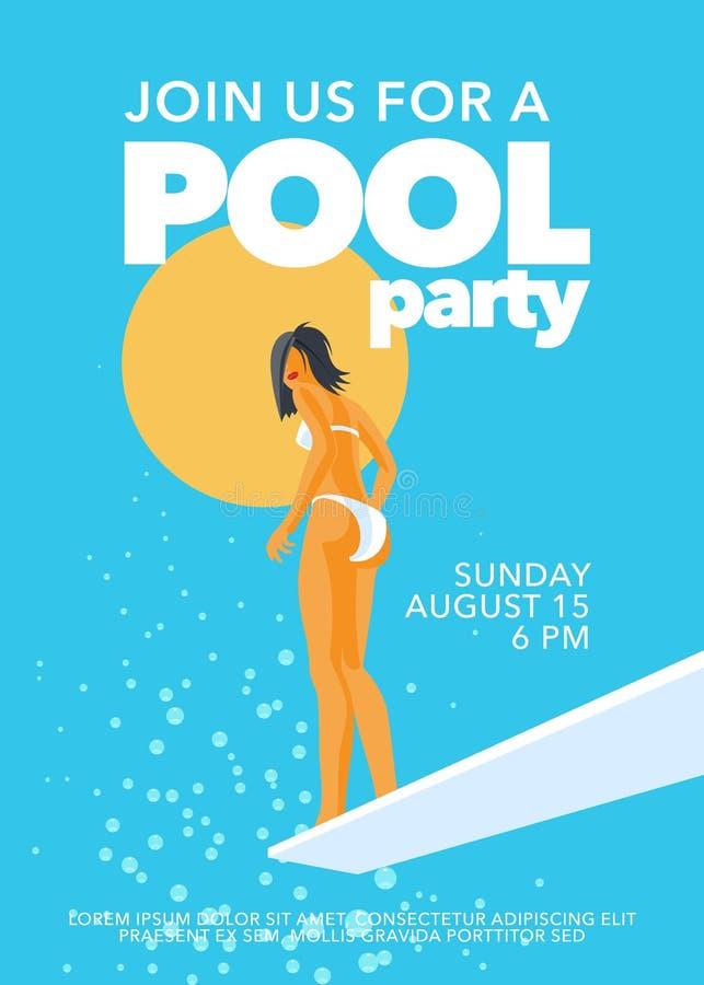 Basenu przyjęcia plakat z dziewczyną na trampolinie w basenu wektoru ilustracji royalty ilustracja