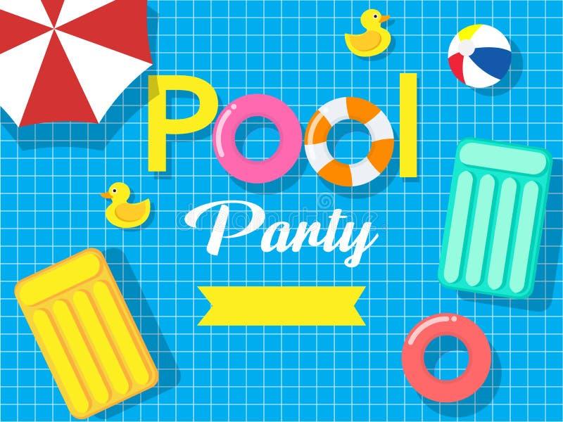 Basenu przyjęcia zaproszenia karty szablon na basenu tle ilustracji