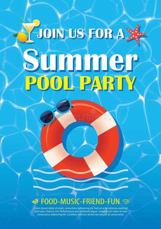 Basenu przyjęcia zaproszenia plakat z błękitne wody Wektorowy lato plecy ilustracja wektor