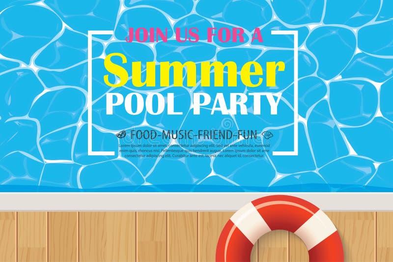 Basenu przyjęcia zaproszenia plakat z błękitne wody Wektorowy lato plecy royalty ilustracja