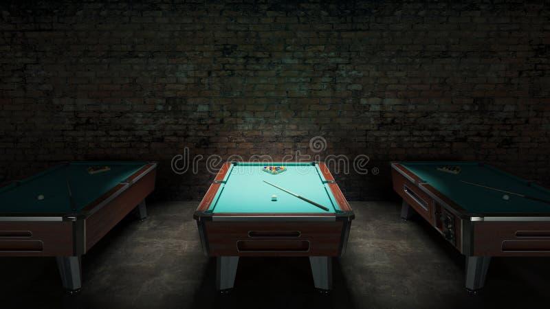 Basenu stół z ściana z cegieł ilustracja wektor