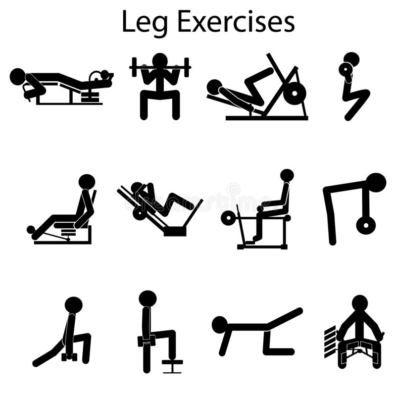 Basera och viktigast övningar för att pumpa dina ben stock illustrationer