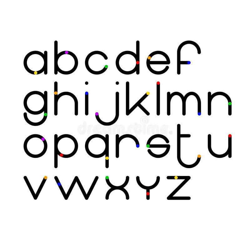 Baserade den moderna geometriska cirkeln för vektorn liten bokstavstilsorten vektor illustrationer