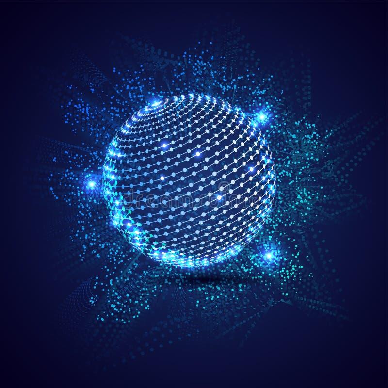 Baserade det högteknologiska teknologibegreppet för global anslutning matrisen som kodifierar bakgrund stock illustrationer