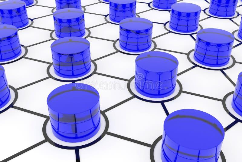 Bases de données dans le réseau informatique. illustration libre de droits