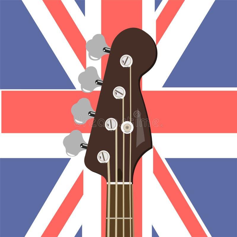 Basgitaar op de achtergrond van de Engelse vlag Vector grafiek royalty-vrije illustratie