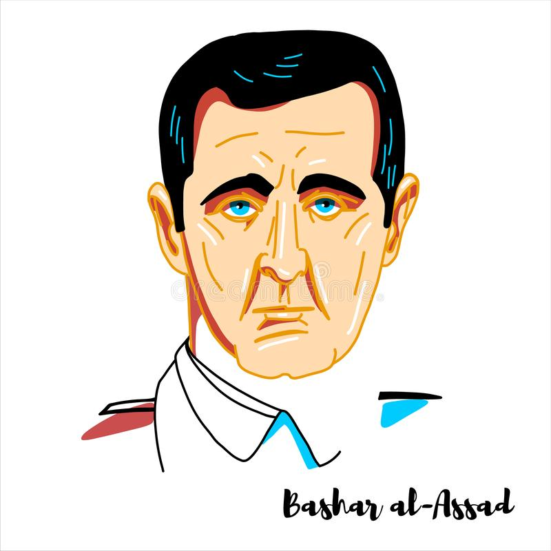 Bashar al-Assad-portret stock illustratie