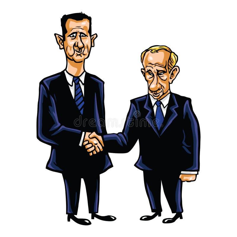 Bashar Al-Assad With Vladimir Putin Cartoon-Vektor-Illustration stock abbildung