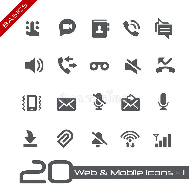 Basi del cellulare & di web Icons-1 // illustrazione di stock