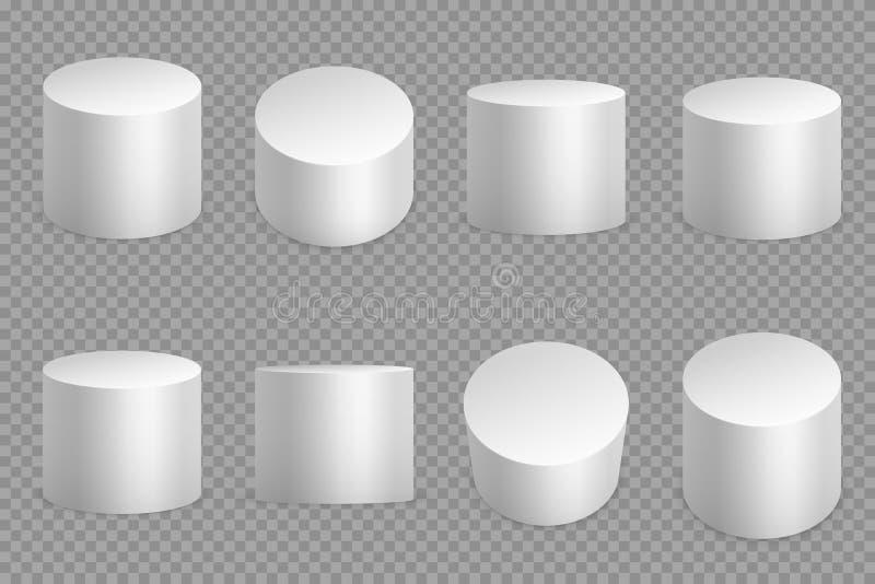 Basi rotonde del podio 3d Piedistallo solido del cilindro bianco Vettore isolato fondamento circolare della colonna royalty illustrazione gratis