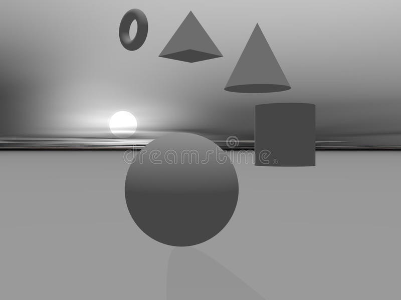 Download Basic 3D Shapes Falling From Sky Royalty Free Stock Image - Image: 13226486