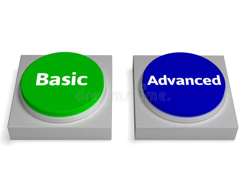 Basic Advanced Buttons Shows Version Or Features royalty free illustration