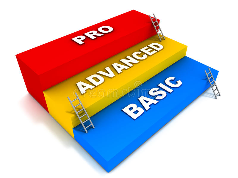 Basic advanced and pro levels. Levels like basic advanced and professional in different fields like education support skills or work area expertise royalty free illustration