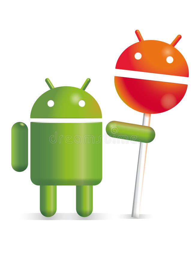 Basic android with android lollipop. Basic android holding an android lollipop vector illustration
