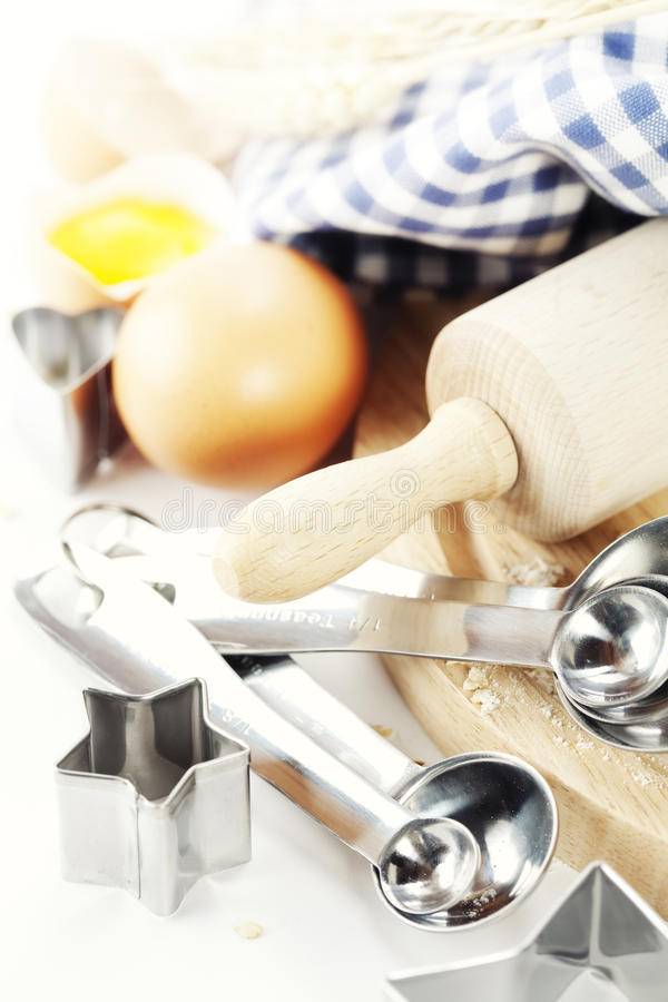 Basic baking ingredients stock image