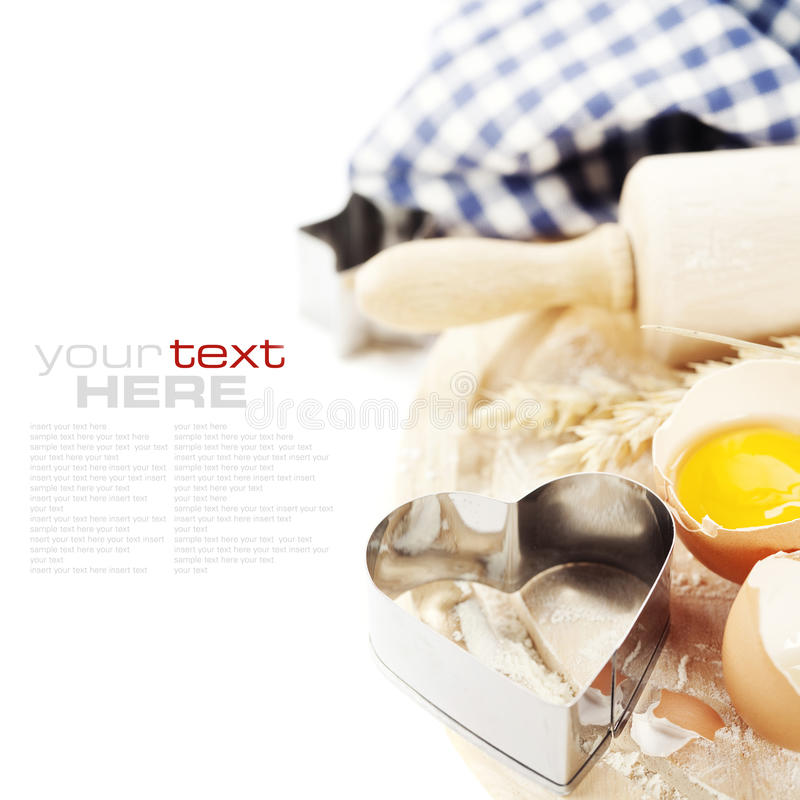 Basic baking ingredients stock images