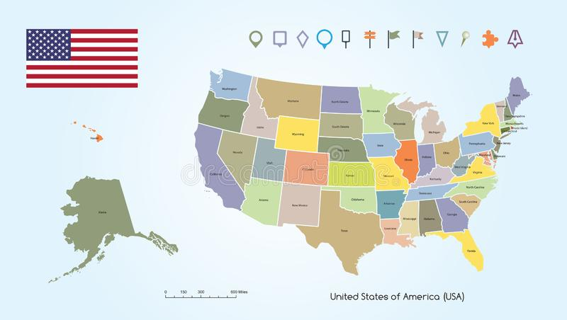 Map of The United States of America Different Colors For Each Countries With USA Flag And Locator Collection stock illustration